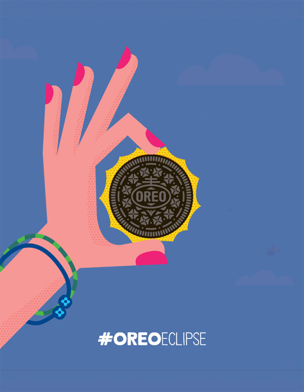 Freddy Boo Illustration, #OreoEclipse, The Sun Newspaper, Solar Eclipse 2015, Play with Oreo
