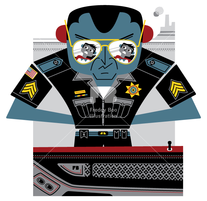 Freddy Boo illustration, National Geographic Traveller UK, American policeman in Utah