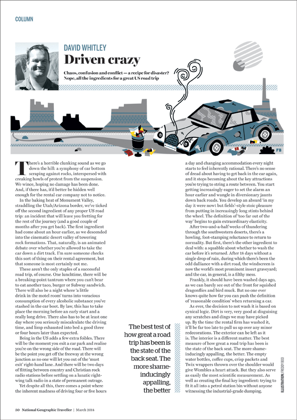 Freddy Boo illustration, National Geographic Traveller UK, US road trip, beaten up car page