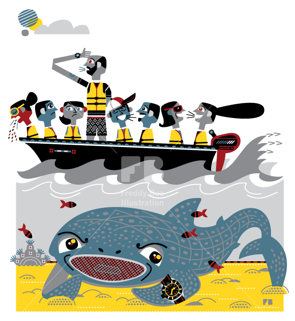 Freddy Boo illustration, National Geographic Traveller UK, tourist in a boat whale shark spotting