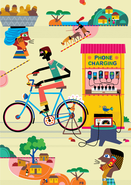 Freddy Boo illustration, cellphone charging in rural Africa