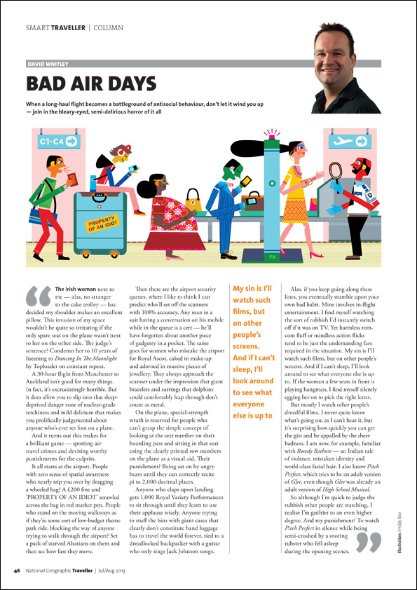 Freddy Boo illustration NGT Smart Traveller Column, Bad Air Days, magazine page