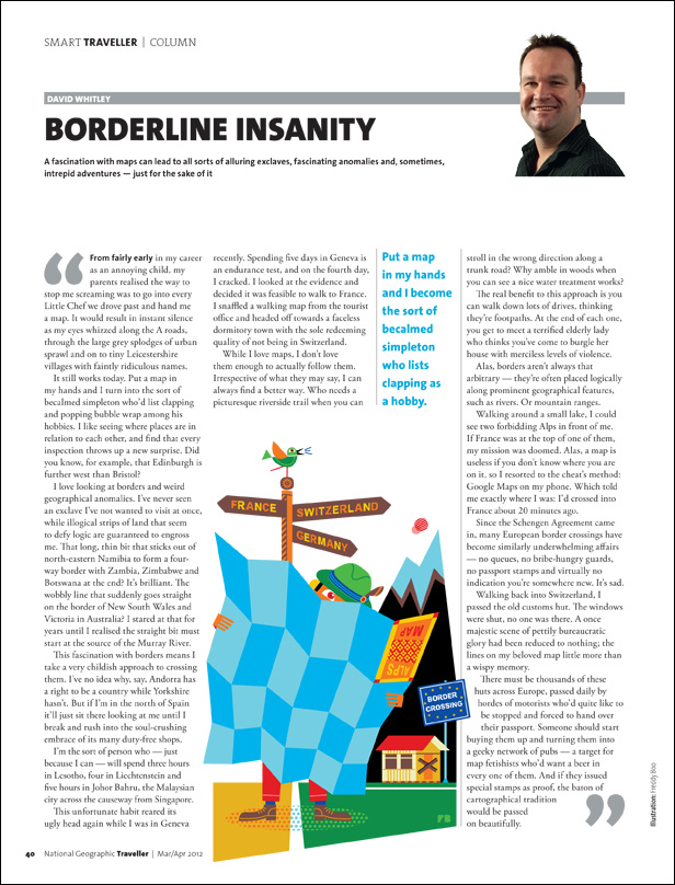 Freddy Boo illustration NGT Smart Traveller Column, Border Insanity, magazine page