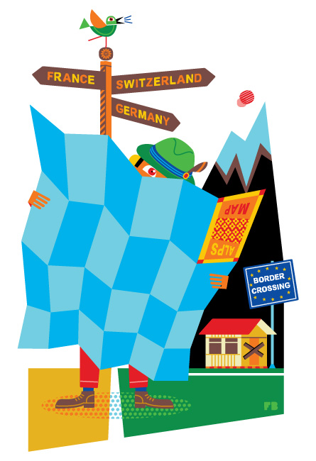 Freddy Boo illustration, National Geographic Traveller UK, fascination with maps