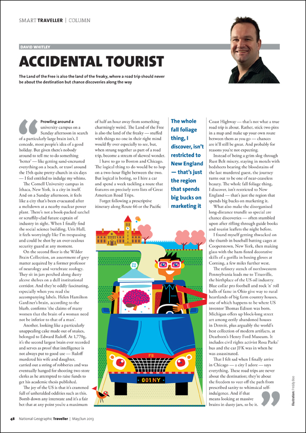 Freddy Boo illustration NGT Smart Traveller Column, Accidental Tourist, magazine page