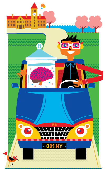 Freddy Boo illustration, National Geographic Traveller UK, brain in jar