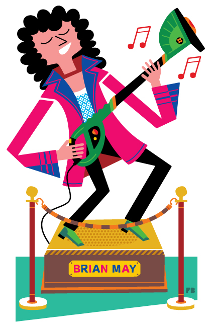 Freddy Boo illustration, National Geographic Traveller UK, Brian May rocking with strimmer