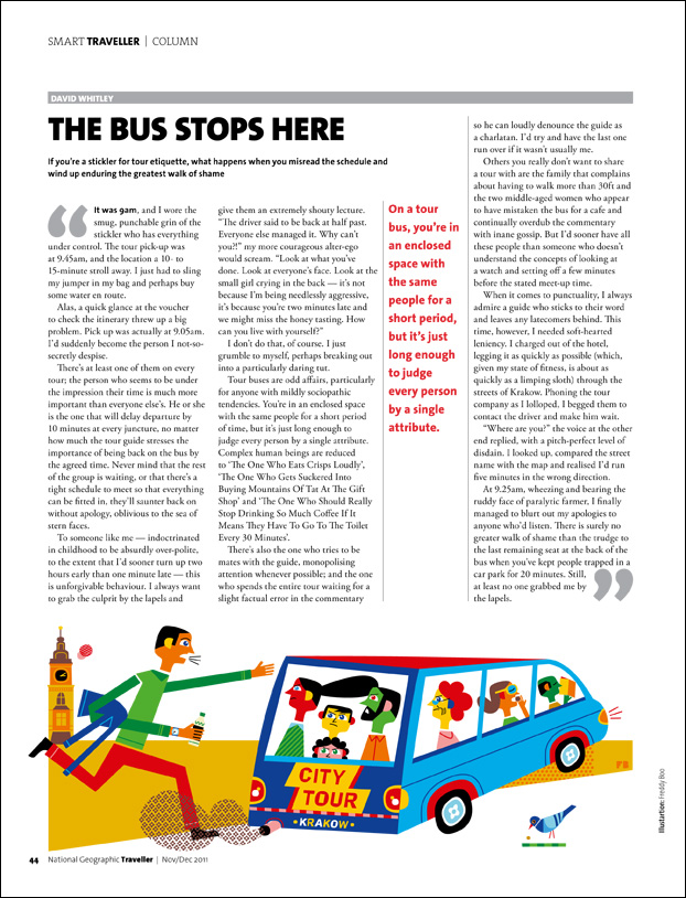Freddy Boo illustration NGT Smart Traveller Column, The Bus Stops Here, magazine page