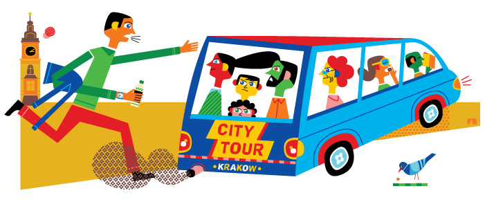 Freddy Boo illustration, National Geographic Traveller UK, missing the tour bus