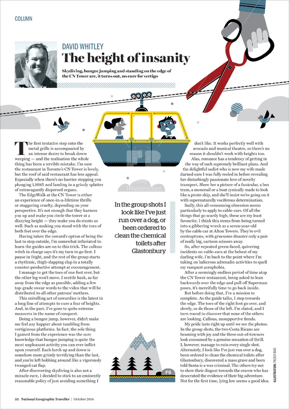 Freddy Boo illustration, National Geographic Traveller UK, cable car page