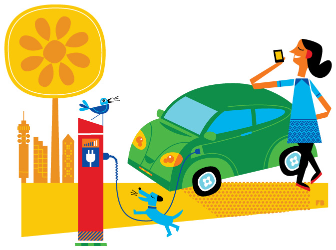 Freddy Boo illustration Electric car charging