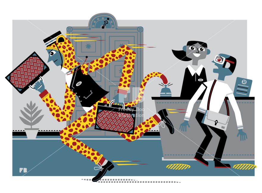 reddy Boo illustration, National Geographic Traveller UK, bellboy wearing a cheetah onesie