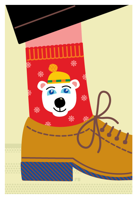 Freddy Boo illustration, Christmas card 2013, Festive Socks