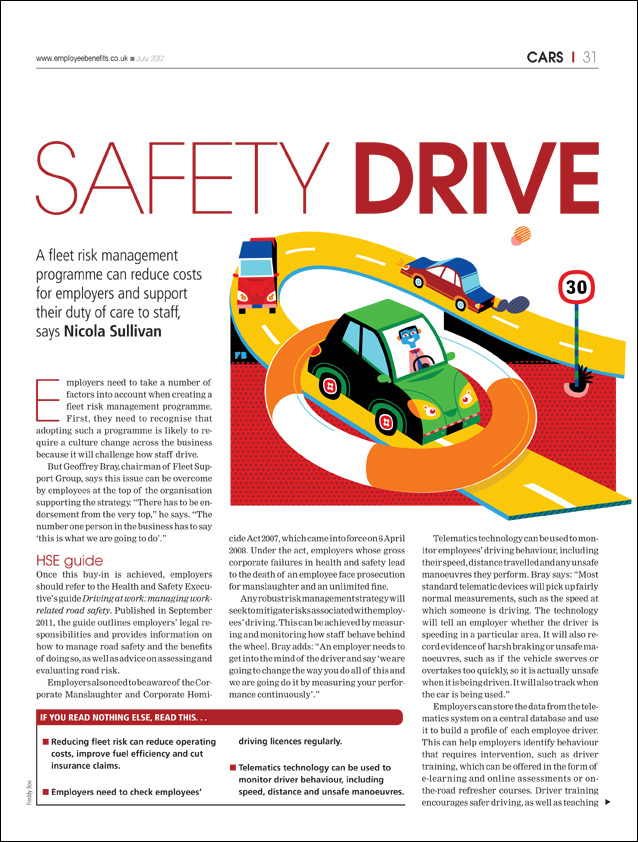 Freddy Boo illustration Employee Benefits magazine, Safety Drive, magazine page