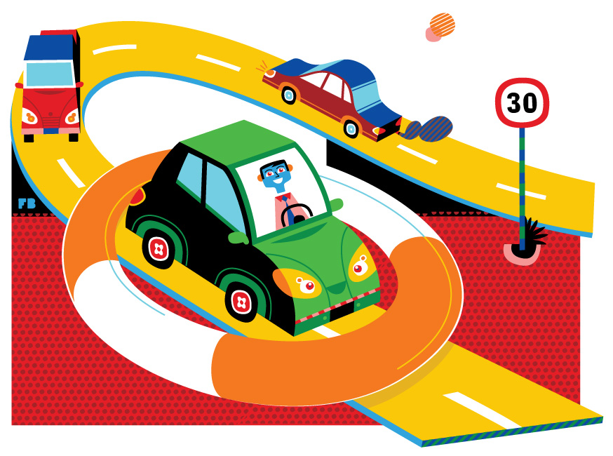 Freddy Boo illustration, Employee Benefits magazine, company cars safe driving