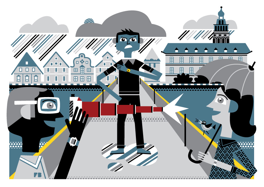 Freddy Boo illustration, National Geographic Traveller UK, tourist taking photograph on bridge in Cesky Krumlov