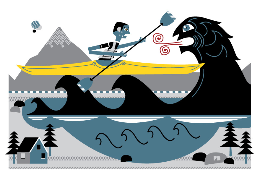 Freddy Boo illustration, National Geographic Traveller UK, kayaking holiday in New Zealand