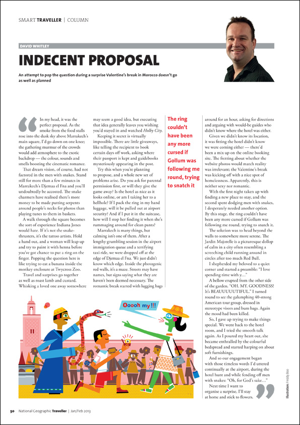 Freddy Boo illustration NGT Smart Traveller Column, Indecent Proposal, magazine page