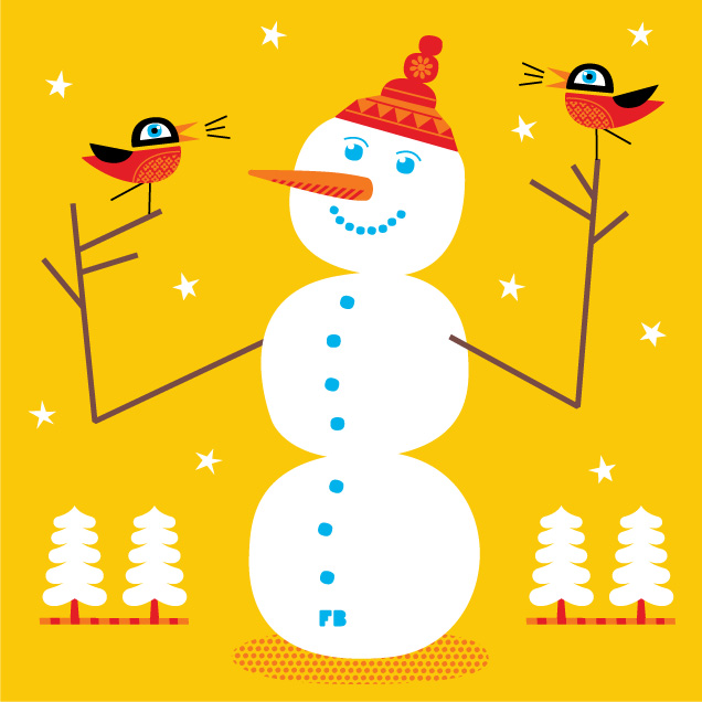 Freddy Boo Illustration three ball snowman Christmas 2011
