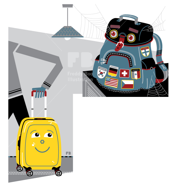 Freddy Boo illustration, National Geographic Traveller UK, holidays, wheelie suitcase, backpack