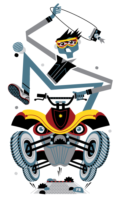 Freddy Boo illustration, National Geographic Traveller UK, quad biking