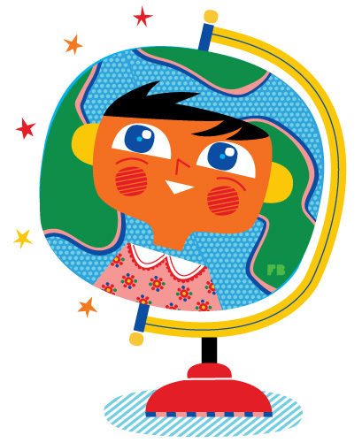 Freddy Boo illustration a globe with the worlds 7th billionth person
