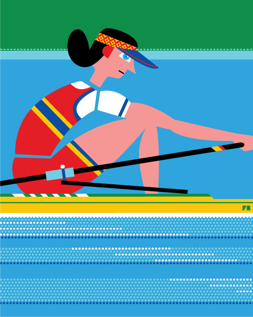 Freddy Boo illustration London 2012 Olympics woman single sculling