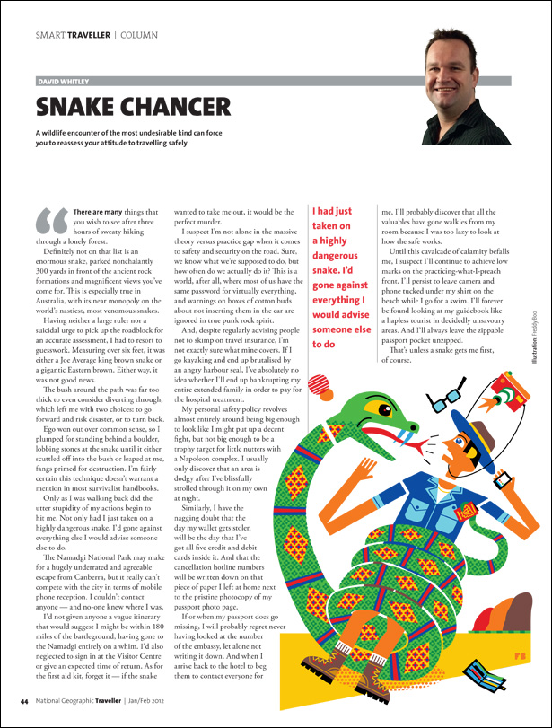 Freddy Boo illustration NGT Smart Traveller Column, Snake Chancer, magazine page