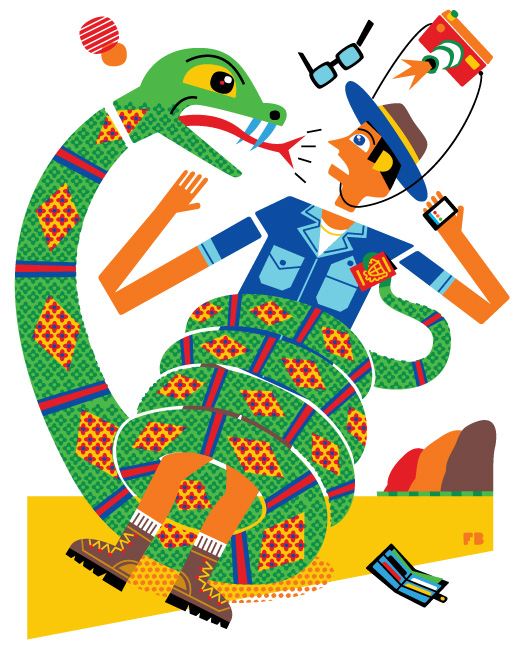 Freddy Boo illustration, National Geographic Traveller UK, robbed by a snake