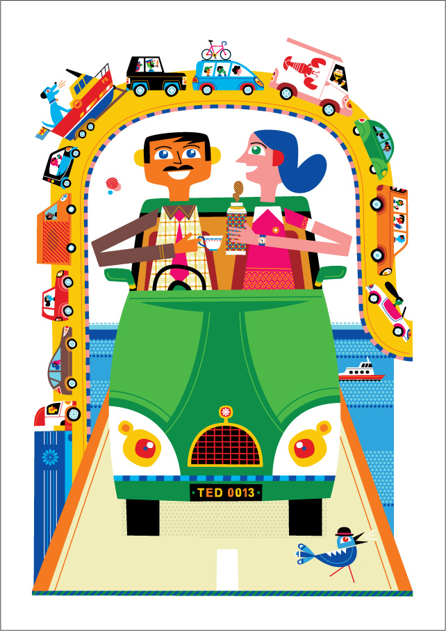 Freddy Boo illustration, Ted Baker's A Bakers Dozen, Traffic Jam, The Best Of British Pastimes print