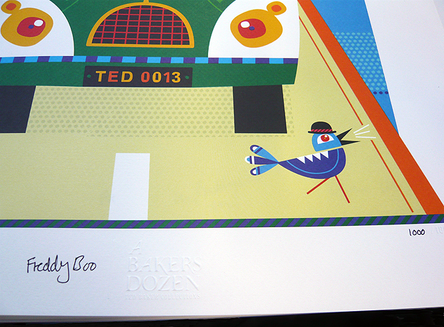 Freddy Boo illustration, Ted Baker's A Bakers Dozen, The Best Of British Pastimes 1000 print signed