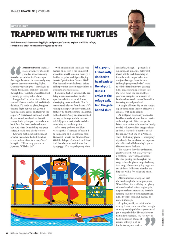 Freddy Boo illustration NGT Smart Traveller Column, Curious Curations, magazine page