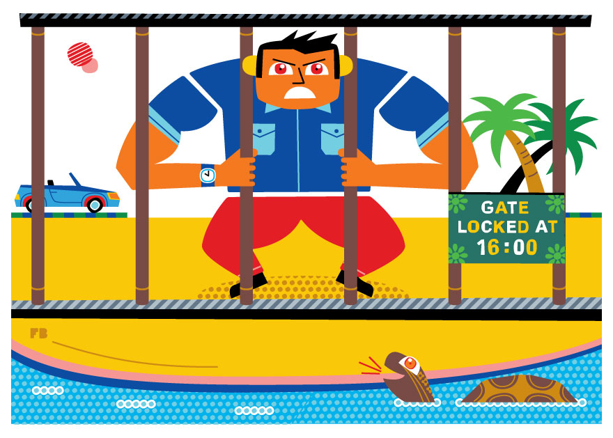 Freddy Boo illustration, National Geographic Traveller UK, trapped behind bars