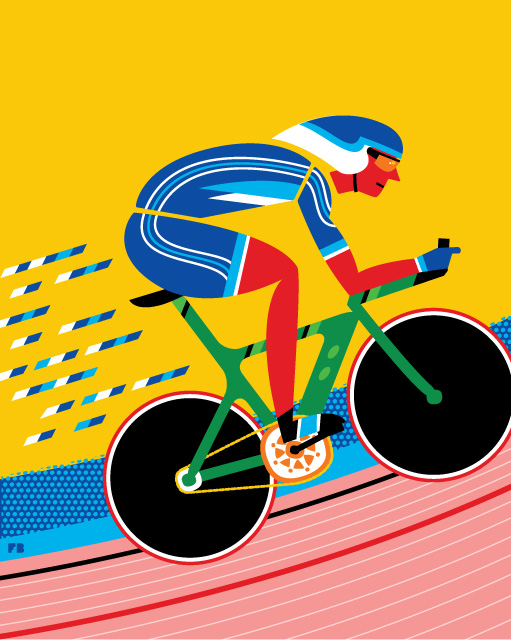 Freddy Boo illustration London 2012 Olympics Velodrome Cyclist