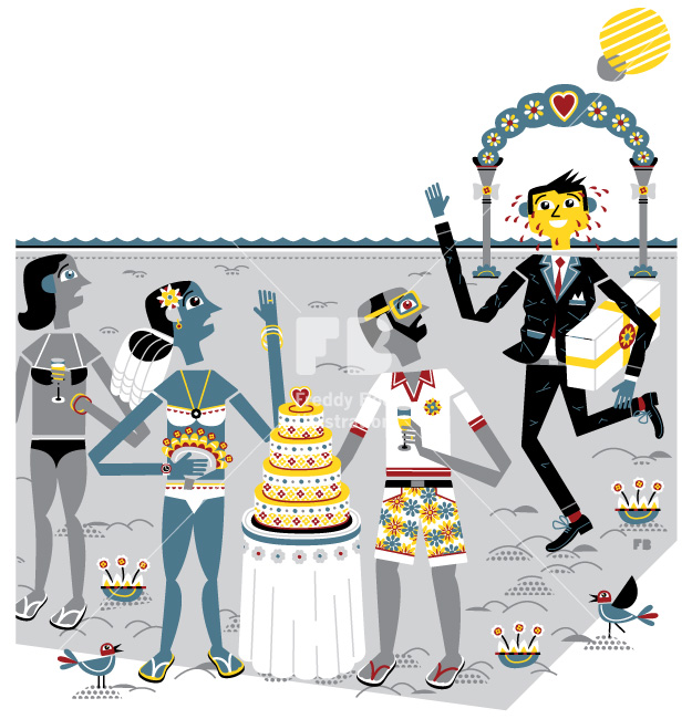 Freddy Boo illustration, National Geographic Traveller UK, wedding on the beach