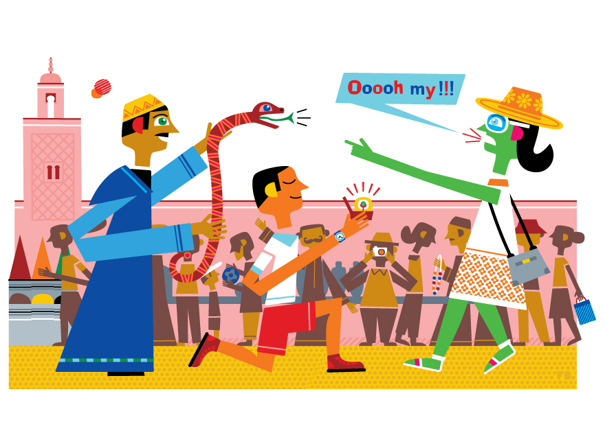 Freddy Boo illustration, National Geographic Traveller UK marriage proposal in Marrakech market