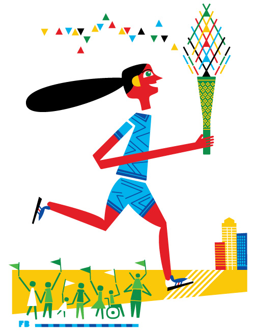 Freddy Boo illustration London 2012 Olympic Torch Bearer