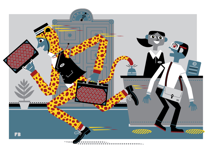 Freddy Boo illustration, National Geographic Traveller UK, over eager bellboy wearring cheetah onesie