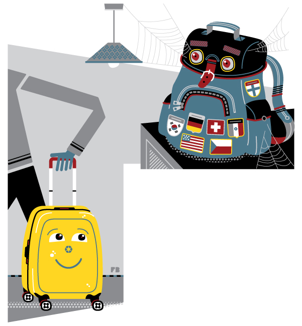 Freddy Boo illustration, National Geographic Traveller UK, old backpack, new suitcase